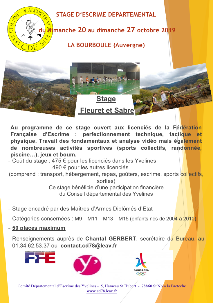 Flyer stage bourboule 2019